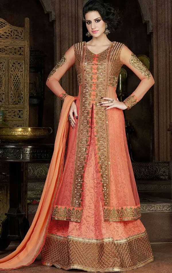 Captivating Peach Designer Lehenga Kameez