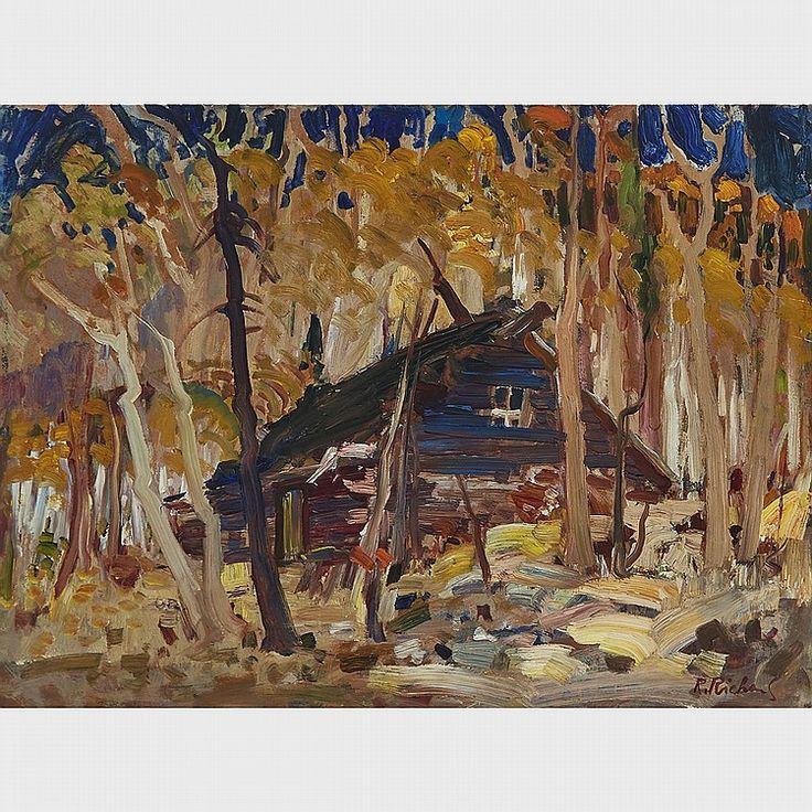 Rene Richard - Trapper's Cabin 18 x 24 Oil on masonite (1955)