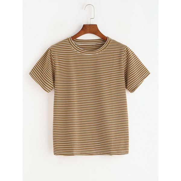 Khaki Striped Short Sleeve T-shirt (305 DOP) ❤ liked on Polyvore featuring tops, t-shirts, multicolor, summer t shirts, summer tees, stripe sleeve tee, polyester t shirts and summer tops