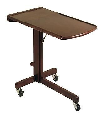 Adjustable Laptop Cart Table Wood Stand Desk Antique Walnut Computer Rolling New