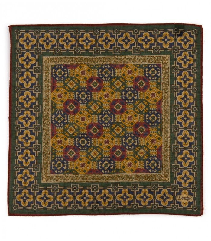 Green/Gold Tapestry Print Wool and Silk Pocket Square