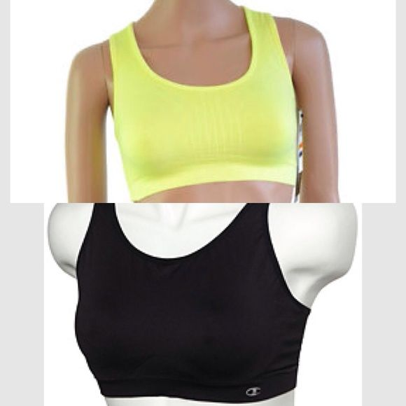 Champion Sport Bras Bundle Good condition. Black size large, yellow size medium. They both fit as a medium. Price is firm. Non-smoking home. Champion Tops