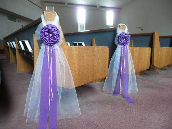 Purple élégant mariage arcs Pew église allée décorations