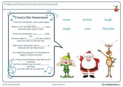 Ficha de inglés de vocabulario de Navidad para primaria