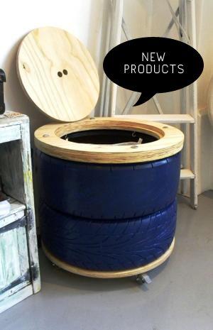 Des #pneus #recyclés en caisse de rangement, idée vraiment géniale ! Des petites roulettes rendent ce meuble encore plus pratique.
