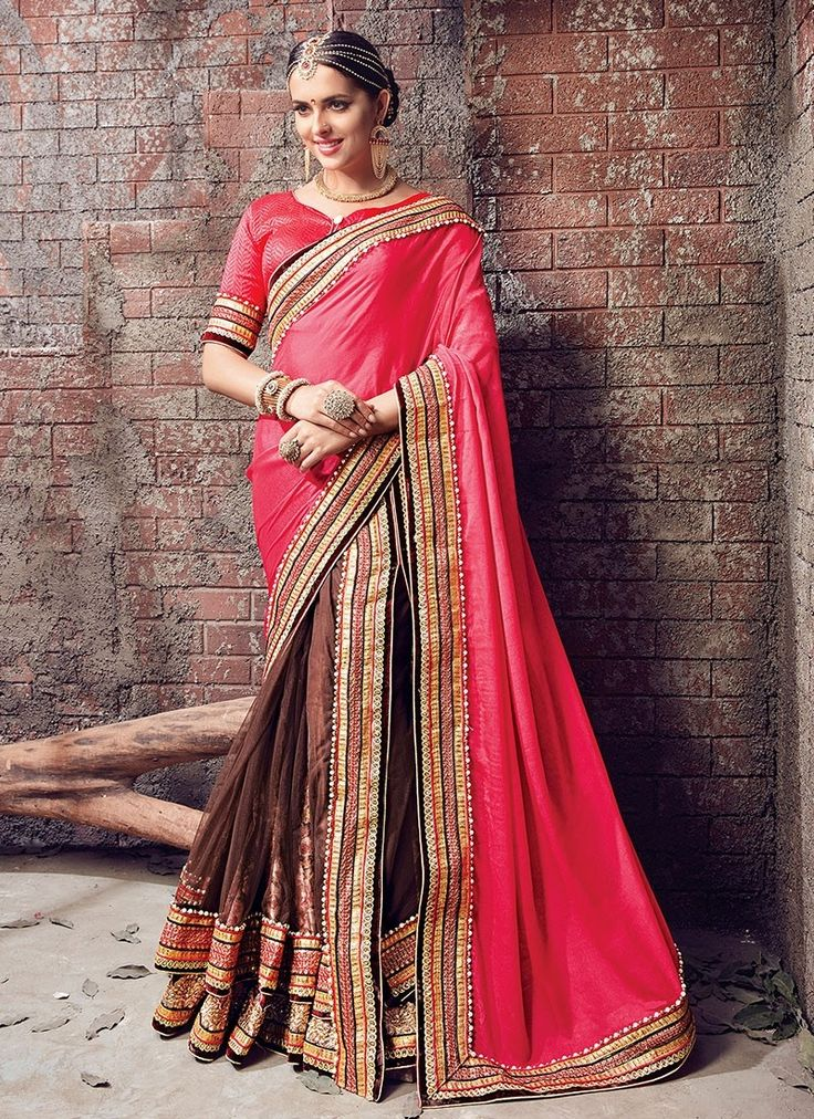 Pink Brown Satin Chiffon Net #LehengaSaree