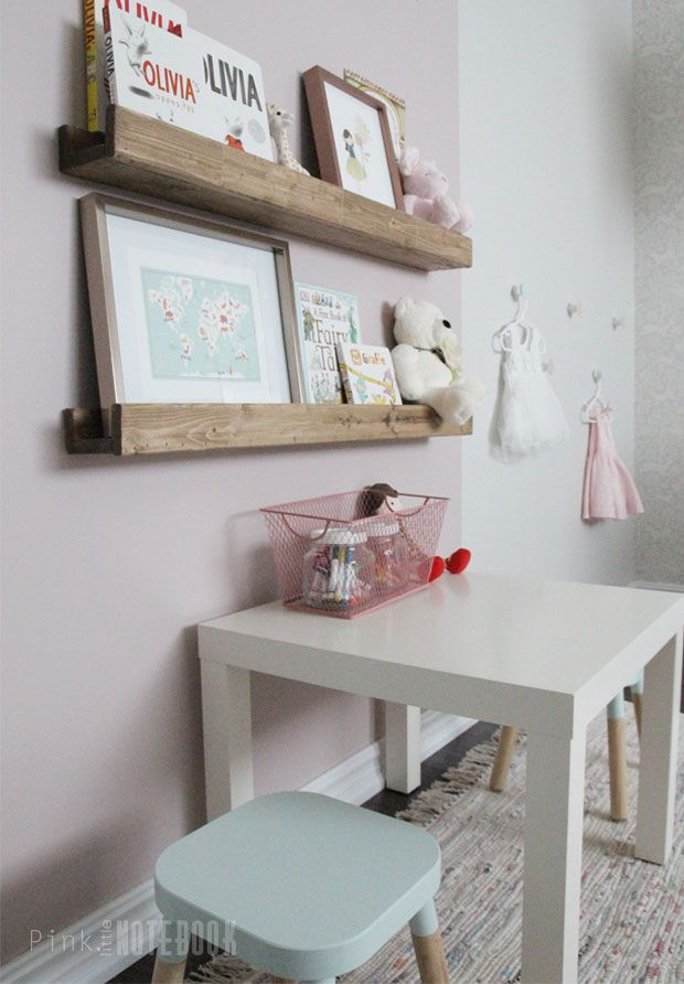 ORC Reveal: Baby Girl's Whimsical Nursery. Wooden book ledge | Pink Little Notebook