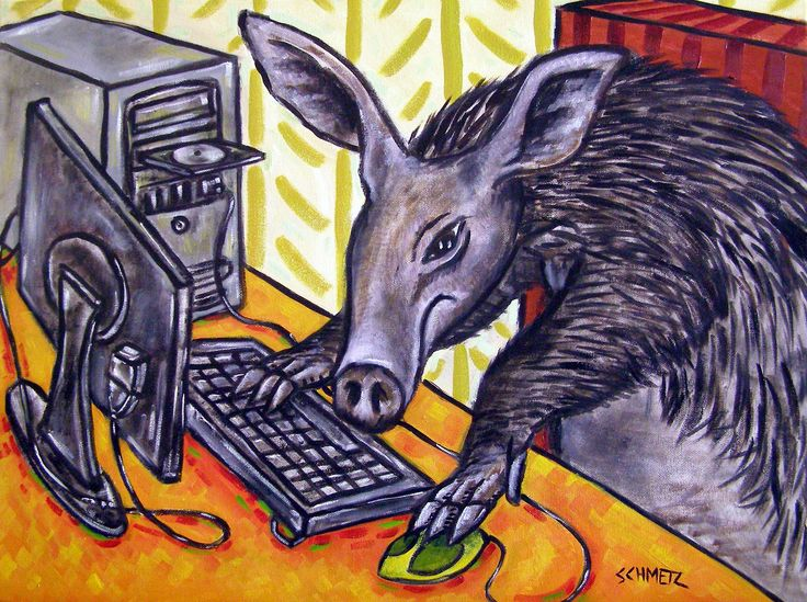 aardvark Computer room decor signed art Print. This Print in on heavyweight Matte paper. The Image has an approximate 1/4 inch white border around it with a printed title on the bottom left below the image as shown in the product sample image.