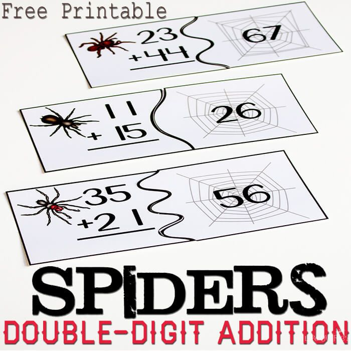Free spider themed puzzles for double-digit addition without regrouping.