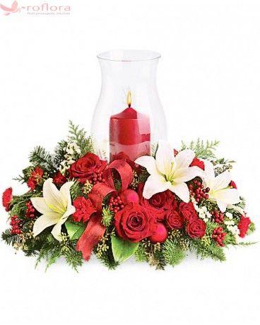 Grandios - Aranjament din trandafiri, minirose, crini, si garofite