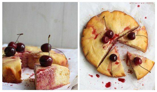 Йогуртовый пирог со сладкими вишнями в вине | Кулинарные Рецепты