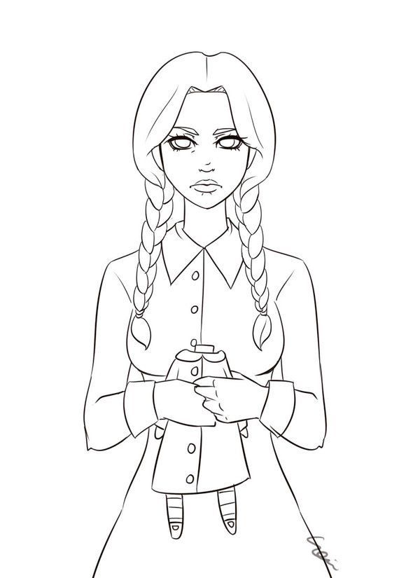 Wednesday Addams Family Coloring Pages Wednesday Addams Movie Monsters
