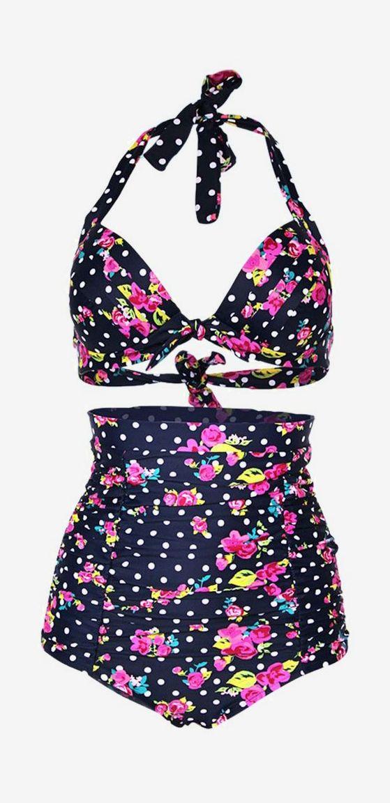 Laromcy Retro High Waist Padded Swimsuit Polka Bikini Set Plus Size Black  Floral)