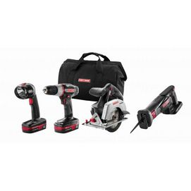 Look to CRAFTSMAN tools for quality you can trust. This 19-V, 4-tool combo includes a drill, flashlight, circular and reciprocating saws plus 2 Lithium-ion batteries and a charger to recharge them with. We have even included a storage bag to tuck them all neatly away in.