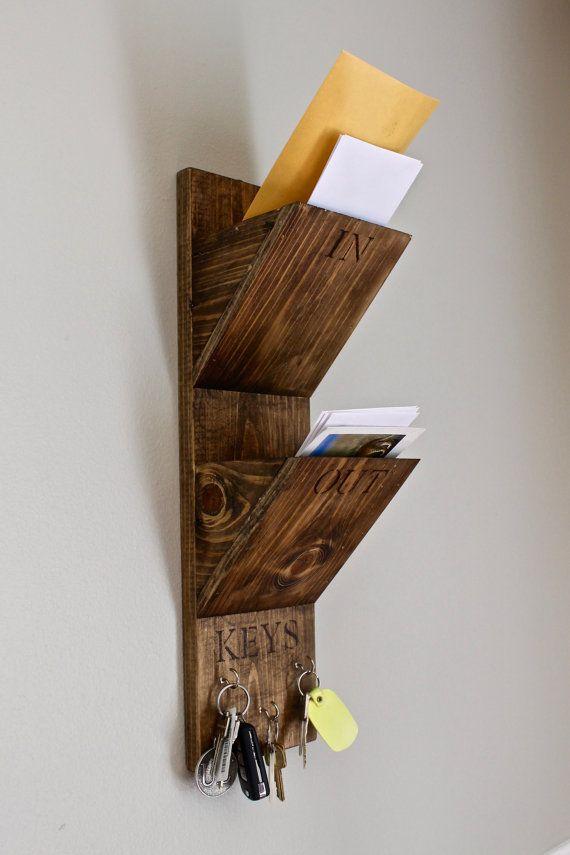 Wall mount mail and key organizer home organizer mailbox handmade rustic wood wall - Wall mounted mail organizer and key rack ...
