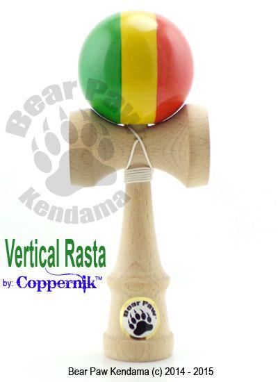 Vertical Striped Rasta Kendama by Bear Paw Kendama. Artist CopperniK created. Kendama skill toy. http://bearpawkendama.com/index.php/shop/product/vertical-rasta-kendama-by-coppernik