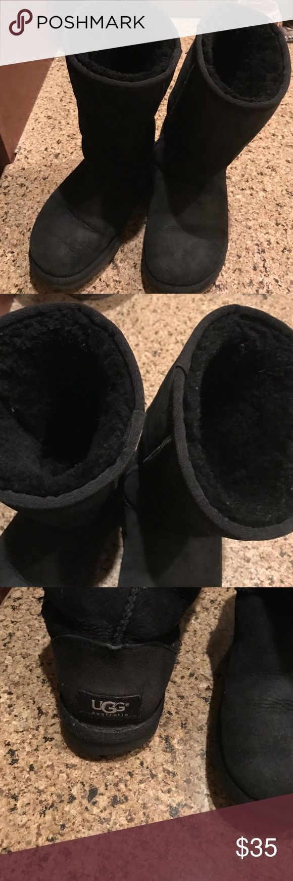 Ugg Boots Ugg boots in black, purchased in 2013 in SF Uggs store. I have 2 new pairs, and will be sad to see these go! Still in great condition! Purchased new sheepskin insoles last year. Bottoms are still great, some wear on inner heel corner on bottom, which is normal wear due to walking gait. Some normal fading of black, normal for this color. UGG Shoes Winter & Rain Boots