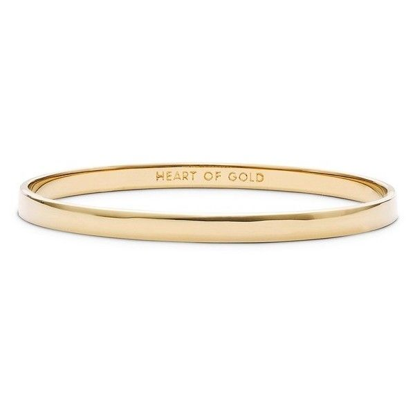 Women's Kate Spade New York 'Idiom - Heart Of Gold' Bangle (£23) ❤ liked on Polyvore featuring jewelry, bracelets, accessories, pulseiras, rings, gold, engraved jewelry, hinged bangle, heart bangle and gold hinged bracelet