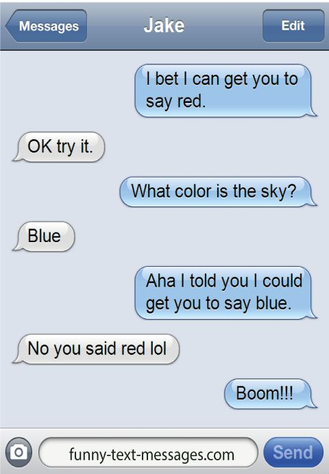 Bet I can get you to say red - funny-text-messages.com