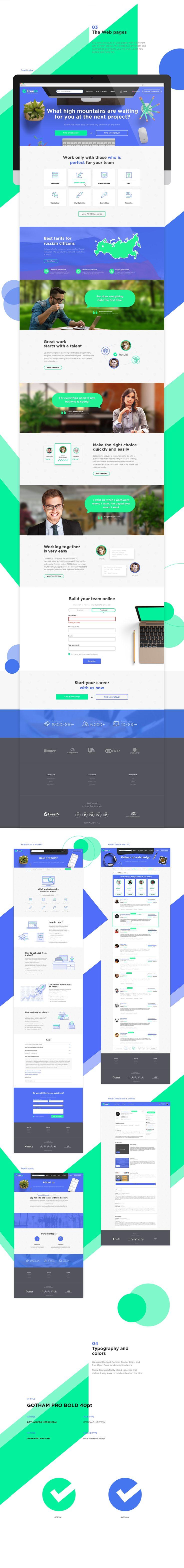 """다음 @Behance 프로젝트 확인: """"Freell - freelance website"""" https://www.behance.net/gallery/43078557/Freell-freelance-website"""