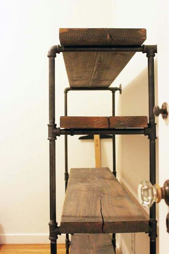 Rustic pipe shelf - something similar to store extra dining table leaves when not in use?