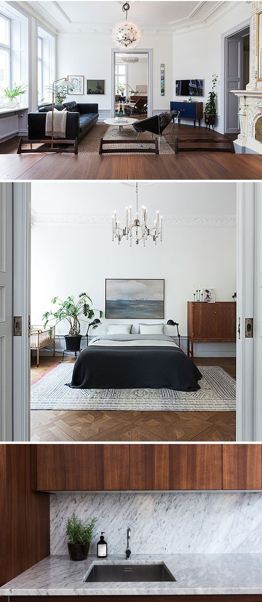 Modern looks even better against a traditional backdrop... I would LOVE to find a pre-1920s apt with crown mouldings and high ceilings like this!