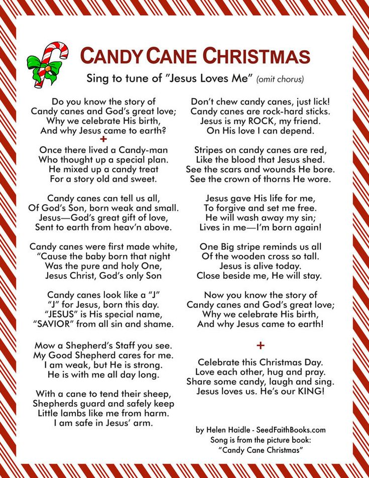 "Free printable - Candy Cane Christmas Song to the tune of ""Jesus Loves Me"" (omit chorus) This song goes with the Candy Cane Christmas pocket book - PDF and Power Point"