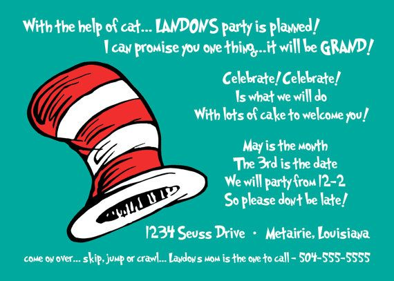 Cat In The HatSeuss Birthday Invitation By Lovebandpdesigns - Birthday party invitation reply wording