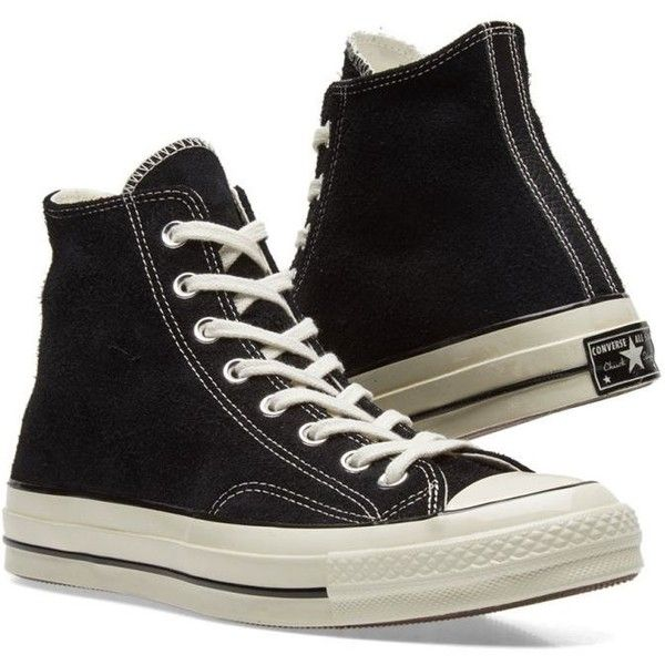 Converse Chuck Taylor 1970s Hi Suede ($95) ❤ liked on Polyvore featuring shoes, suede shoes, kohl shoes, converse footwear, black shoes and converse shoes