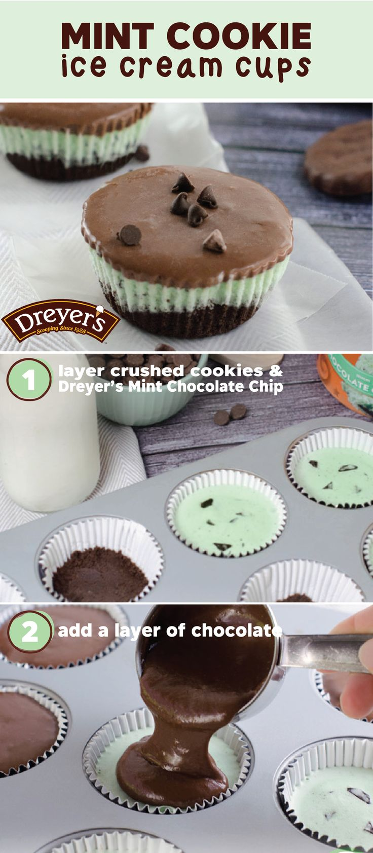 Dreyer's Slow Churned mint chocolate chip light ice cream in a bite-sized form—it's almost too good to be true. See how you can make this dessert recipe for Mint Cookie Ice Cream Cups with your kiddos to enjoy a sweet treat after a day of outdoor fun!