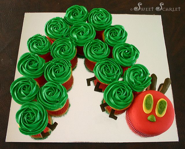 The Very Hungry Caterpillar cupcake arrangement
