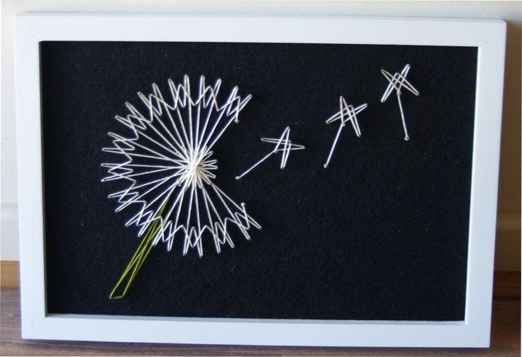 retro - DIY craft - Dandelion string art - pattern from String art fun