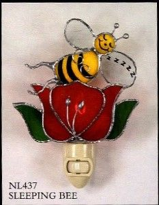 honey bee kitchen decor | Honey Bee Sleeping on Rose Flower Stained Glass Decorative Night Light ...