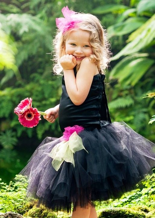 Black Flower Girl DressTutu and Satin Halter by BellaBeanCouture