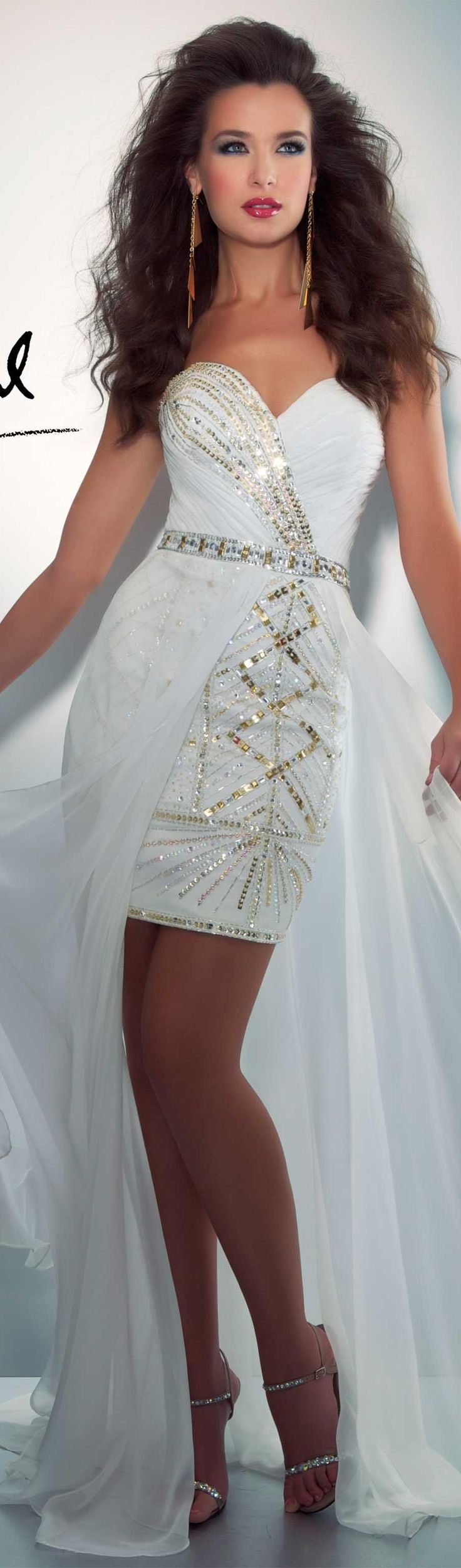 Mac Duggal couture dress ivory / gold #strapless #white #dress CASSANDRA STONE  STYLE 76492A