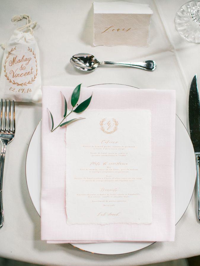 Modern blush and white table decor: http://www.stylemepretty.com/2016/12/02/fashion-bloggers-mahay-wedding/ Photography: Photographs by Caileigh - http://www.photosbycaileigh.com/