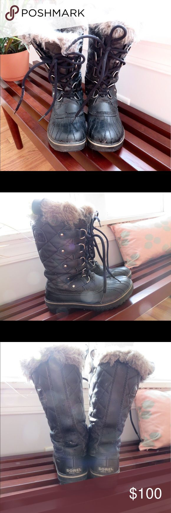 Soren Joan of Arc Boots Used twice this last season in Chicago- barely snowed thankfully! They were slightly too big and I didn't love the way they felt on my back ankle because of that Sorel Shoes Winter & Rain Boots