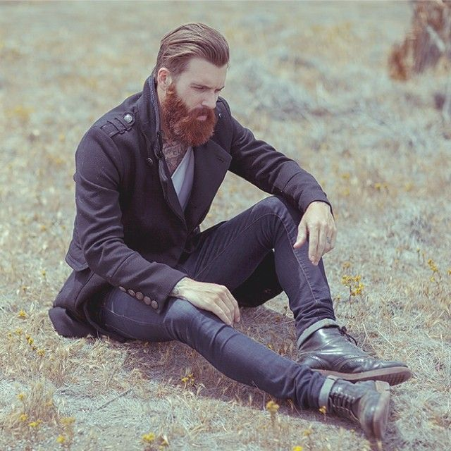 Levi Stocke - thick red beard and mustache beards bearded man men mens' style model fashion clothes clothing fall boots tattoos redhead ginger so handsome #beardsforever