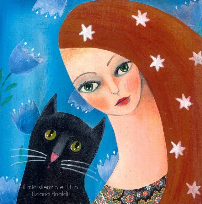 Il mio silenzio e il tuo - Tiziana Rinaldi #artwork #cat #woman