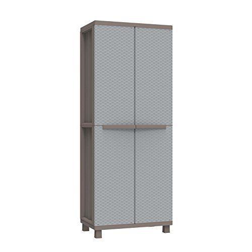Plastic Garden Storage Cupboard Tall Cabinet Utility Unit Outdoor Broom Lockable #PlasticGardenStorageCupboard