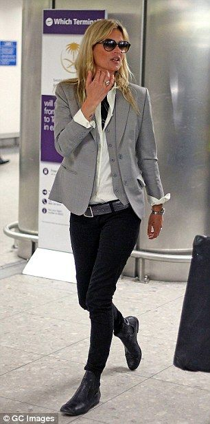 Others who made the list included Kate Moss, whose favourite airport clothes include leath...