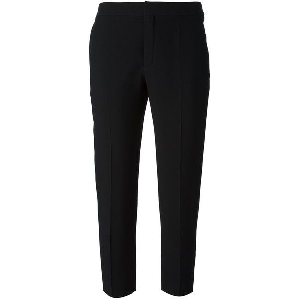 Chloé Cropped Slim Fit Trouser ($595) ❤ liked on Polyvore featuring pants, capris, trousers, bottoms, jeans / pants / leggings, black, slim fit pants, cropped capri pants, cropped trousers and slim pants