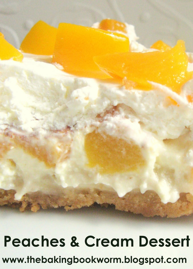The Baking Bookworm: Peaches & Cream Dessert. One of those desserts that I crave every now and then. So easy to make & great for a crowd.