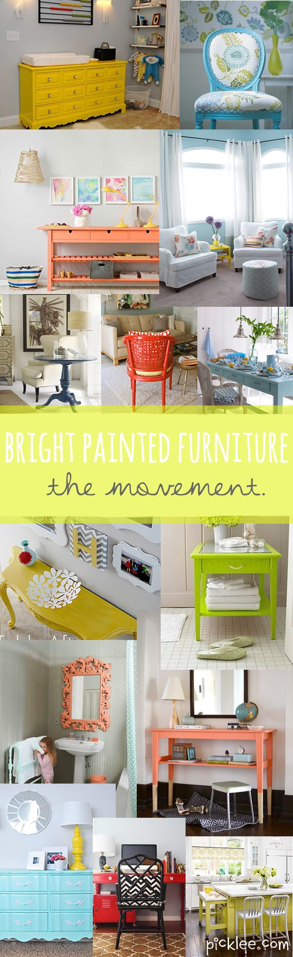 Tons of inspiration to paint furniture...BRIGHT!