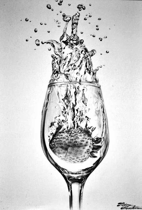Strawberry Water Splash - Desen în Creion de Corina Olosutean // Strawberry Water Splash - Pencil Drawing by Corina Olosutean