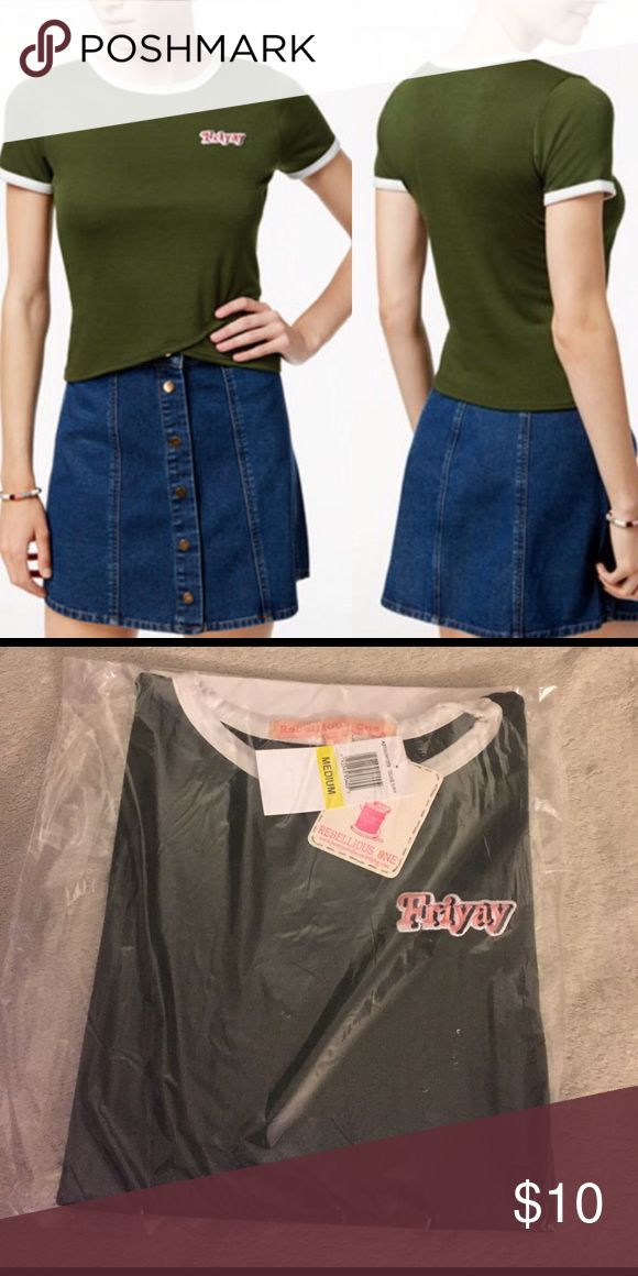 Rebellious One Junior's Crop top New Cute rebellious one too not long but like a long crop top. Junior sizes. But very similar to women's size Tops Tees - Short Sleeve