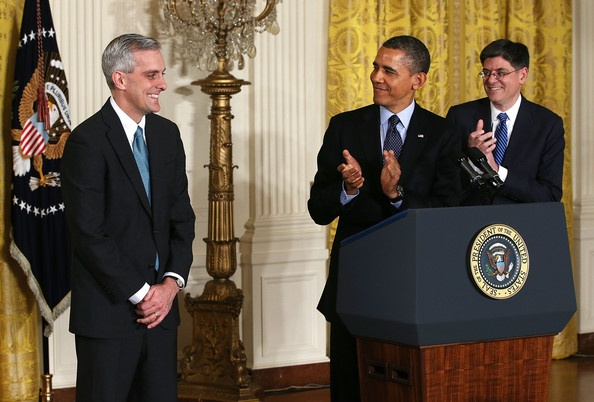 U.S. President Barack Obama appoints McDonough to replace outgoing Jack Lew to be the new White House chief of staff. Here, President Obama & White House Chief of Staff Jack Lew (R) applaud as Deputy National Security Adviser Denis McDonough (L) look on during a personnel announcement in the East Room of the White House January 25, 2013 in Washington, DC.