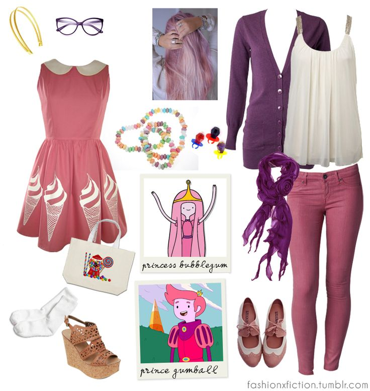Fashion inspired by Princess Bubblegum and Prince Gumball fromAdventure Time. A human boy and his brother - a magical dog - set out to become righteous adventurers in the Land of Ooo. Princess Bubblegum shows a malicious aspect of her personality whenever she is crossed. Prince Gumball is the gender (and species) swapped version of Jake the dog in the Ice King's self-written fan-fictions http://www.imdb.com/title/tt1305826/?ref_=sr_2