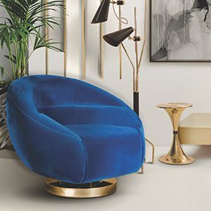 The iconic Mansfield chair is our ultimate mid-century modern masterpiece, combining the retro touch from the velvet with the 60's sleek lines. It is an accent barrel chair atop a sophisticated swivel polished brass base. Its iconic low-slung and crescent shape make it look like a dislocated piece right from the Mid-century Mad Men era.