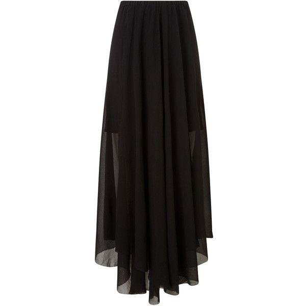 Isabel Marant Etoile Black Floaty Wrap Amery Skirt found on Polyvore featuring skirts, bottoms, sheer skirt, chiffon wrap skirt, see through skirt, chiffon skirt and sports skirt